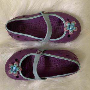 Girl's Mary Jane Crocs Play Shoes w/ Rhinestone T8